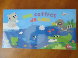 Toys and books for bath time - in French