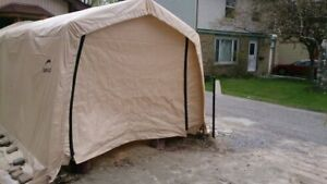 Temporary Garage/Shelter. Canvas Covered