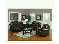 Brand new Valencia Brown Recliner Leather Sofa Suite 3+2 Seater