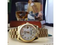 New Gold Bracelet White Face Rolex DateJust Comes Rolex Bagged and Boxed with Paperwork