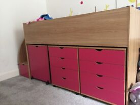 Mid Cabin Bed with storage steps, drawers, table and book shelf