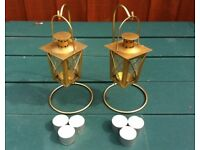 2 x BRASS TEA LIGHT LANTERNS + STANDS with 6 x TEALIGHT CANDLES