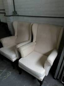 Wing back armchairs x 2