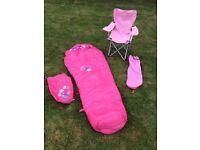 Child's sleeping bag - pink; plus pink folding camping chair