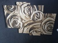 Brown and cream rose wall art
