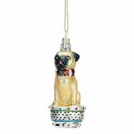 NEW Glass pug Christmas decorations - box of 4 (Paperchase), £10