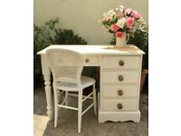Solid Pine Desk / Dressing Table with Chair