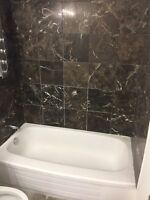 Old bathtub ceramic wall tiles reglazing