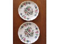 Pair AYNSLEY Plates 21cm Scalloped Pembroke Classic Bird & Floral Design x2 ❤