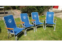 Folding chairs, high-backed, set of 4, aluminium and canvas