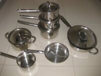 Professional cookware pan set in stainless steel. 4x saucepans, 3 x frying pans