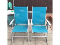 2 outdoor blue mesh folding reclining chairs