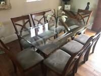 Stunning 8 Seater Glass Top Dining Room Table and Consul Table