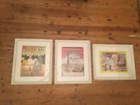3 vintage style French prints