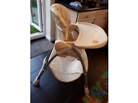 Mothercare Highchair - Cream with teddy print design