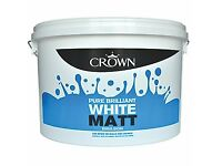 CROWN BRILLIANT WHITE MATT PAINT NEW 10 litre