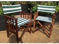 Two Directors chairs for the garden. Very good condition for older chairs. Fabric freshly washed.