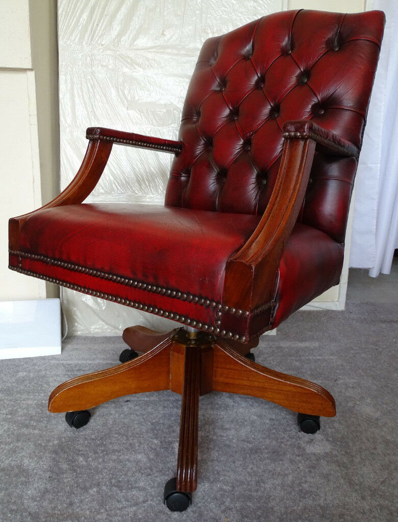 Oxblood Leather Chesterfield Gainsborough Directors Captains Swivel Office Desk Chair