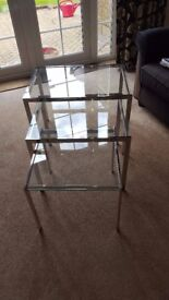 Set of 3 Chrome and glass nest of tables