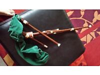 Small set bagpipes needs reeds to tune better two chanters with them sold as seen