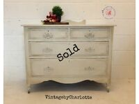 NOW SOLD....Vintage Chest Of Drawers 1940s hand painted