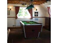Slate top pool table and light fitment
