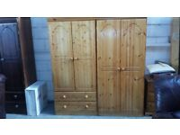 BRAND NEW Pine wardrobes & chest of drawers, ladies wardrobes £129 each, gents with 2 × Draws £ 139