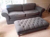 Grey large 3 seater sofa and matching footstool