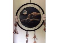 Large Dream Catcher - Wolf seen by Full Moon - For Twilight fans
