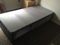 Single Bed Upholstered Wooden with Underbed Storage Drawers with Wheels - Low Price for Quick Sale