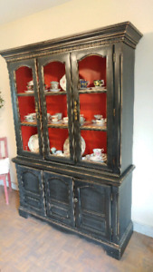 Distressed wood hutch