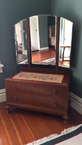 Antique two drawer dresser with mirror