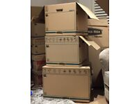 Free Packing boxes used once, 10 medium and large + 2 hanging boxes used once
