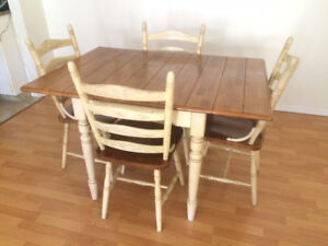 Solid wood drop-leaf table & 4 chairs