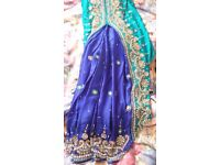 Beautiful Ready-Made Saree with Pleats, Gem Embroidery and Sleeves- Very Good Condition