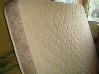 Kingsize Mattress Hardly used Merino lambswool topping, firm lightweight mattress 150 x 198 cm £80 .
