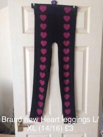 Heart leggings size 14/16