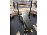 Everlast folding bench bar bell and dumb bells included - no weightd