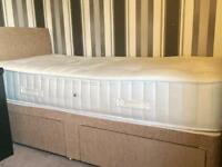 New Single Divan Bed Base with headboard and New memory foam mattress