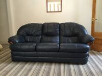 Blue Leather Settee and Arm Chair