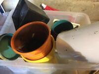 Various ceramics & plastic plant pots FREE