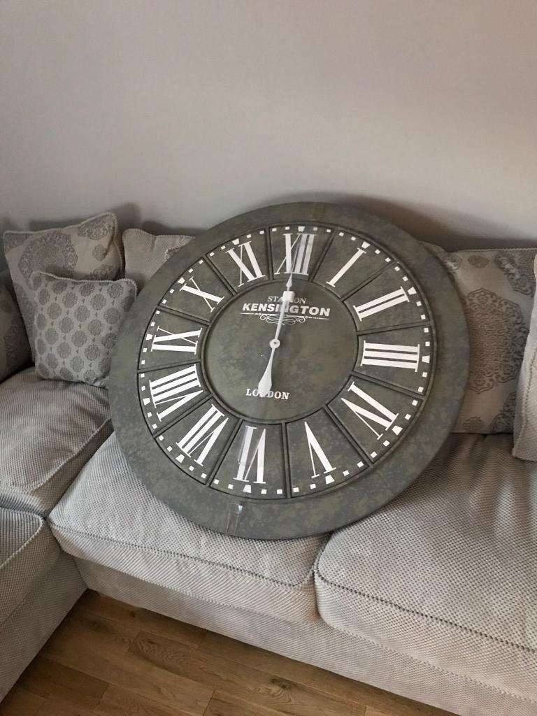 Large Wall Clock Slate Effect Oak Furniture Land In