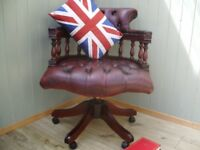 Stunning Leather Oxblood Chesterfield Captains Chair.