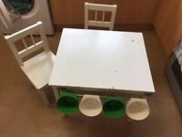 Children's White Table & Chairs With Storage Pots (my sons used them to store Lego)