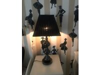 Black Statement Table / Bedside Lamps X 2