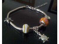 "Create your own Pandora style bracelet. snake charm bracelet . brand new. 7.5"" long £5 ."