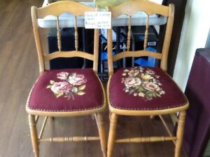 pair of antique chairs and a office chair