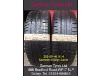 205-55-16 / 205-55 R16 Michelin Energy Saver Part Worn Tyres 5mm+ Tread