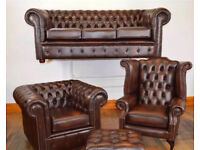 🔥Superior🔥 deluxe chesterfield 3 piece suite rich chestnut brown genuine antique leather