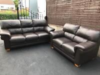 Luxury 3 & 2 Reid's dark brown full leather sofas suite